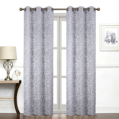 Regal Home Collections, Inc. York Paisley Light-Filtering Grommet-Top Single Curtain Panel
