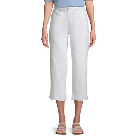 St. John's Bay Mid Rise Cropped Pants, 8 , White