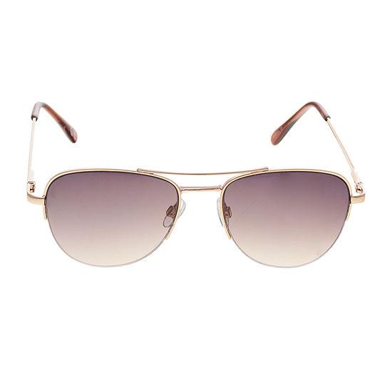 a.n.a Petite Metal Semi-Rimless Aviator Womens Sunglasses