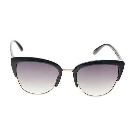 Arizona Black Semi Rimless Square Womens Sunglasses