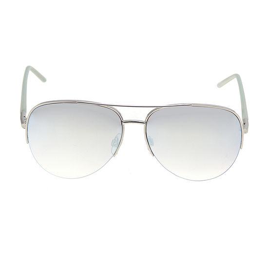 Arizona Blue Semi Rimless Aviator Womens Sunglasses