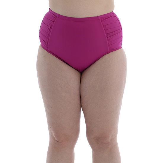 Sonnet Shores Womens Leaf High Waist Bikini Swimsuit Bottom Plus