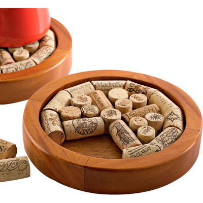 Wine Enthusiast® Round Wine Cork Trivet Kit