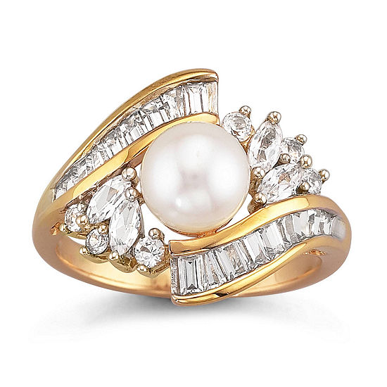 14K Gold Over Silver Cultured Freshwater Pearl & Lab-Created White Sapphire Ring