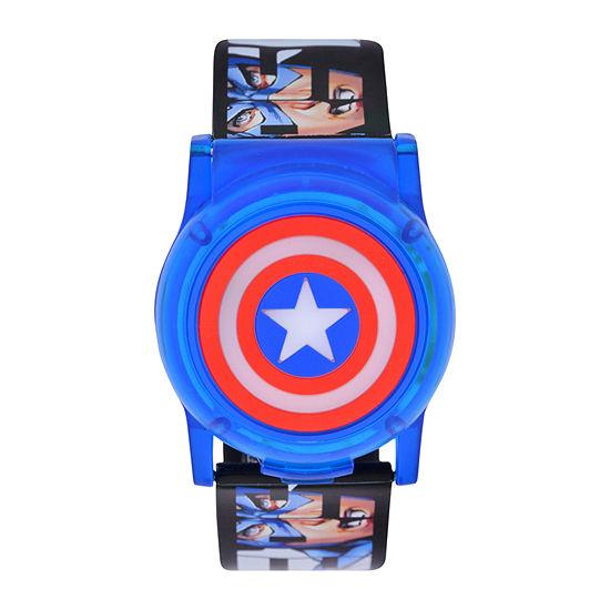 Marvel Captain America Boys Digital Black Strap Watch-Cta4115jc