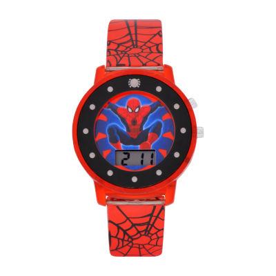 Spiderman Boys Red Strap Watch-Spd4426jc