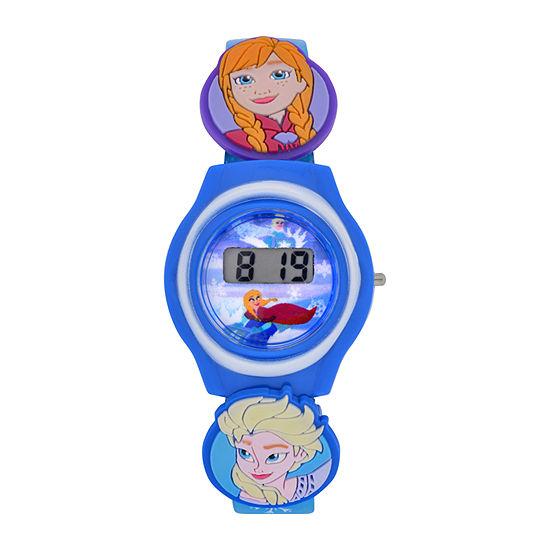 Disney Frozen Girls Digital Blue Strap Watch-Fzn3900jc