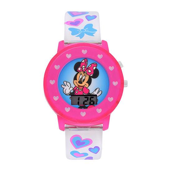 Disney Collection Minnie Mouse Girls Digital White Strap Watch-Mnh4018jc