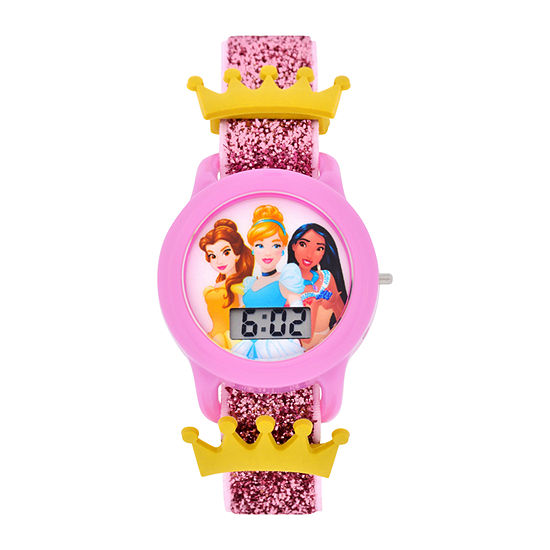 Disney Princess Girls Digital Pink Strap Watch-Pn3045jc