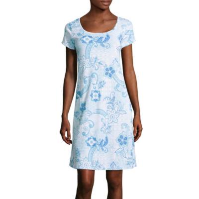Collette By Miss Elaine Short Sleeve Round Neck Nightshirt