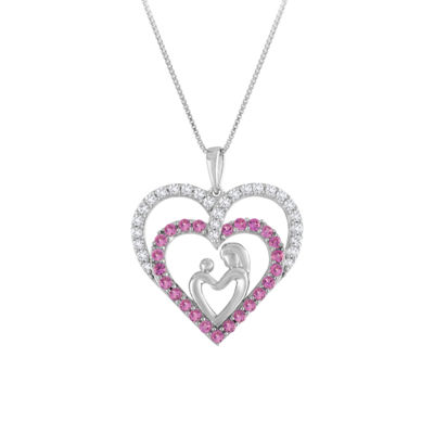 Womens Lab Created Pink Sapphire Sterling Silver Pendant Necklace