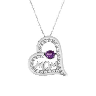Womens Genuine Purple Amethyst Pendant Necklace