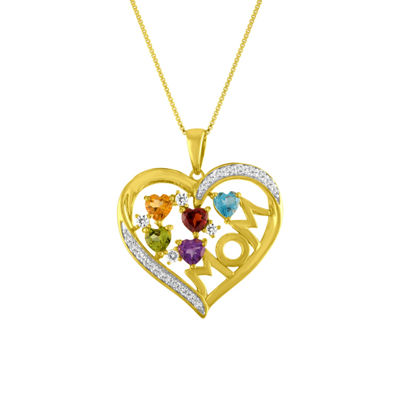 Womens Genuine Multi Color Amethyst 14K Gold Over Silver Pendant Necklace