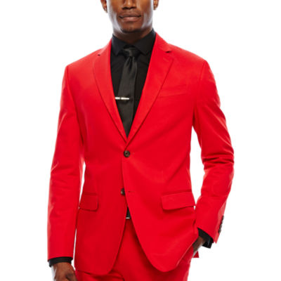 JF J. Ferrar Cotton Cabaret Red Sport Coat-Slim