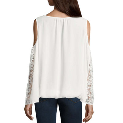 Heart N Soul Long Sleeve Georgette Blouse-Juniors Plus