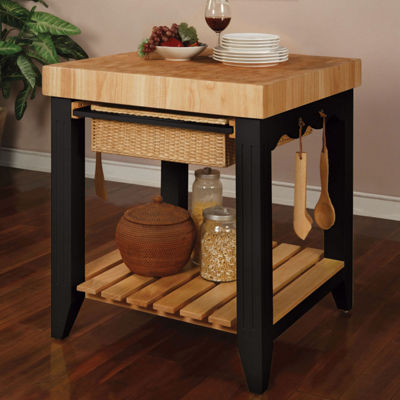 Color Story Wood-Top Kitchen Island
