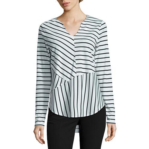 Worthington Long Sleeve Y Neck Stripe T-Shirt-Womens Talls