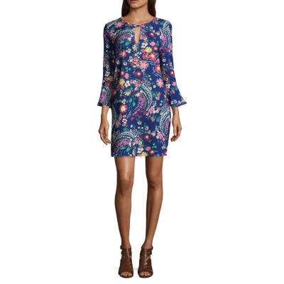 Weslee Rose Elbow Sleeve Floral Crepe Dress