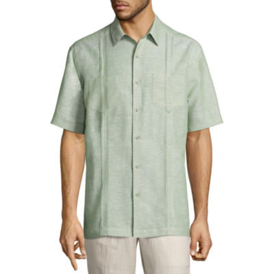 Havanera Linens Short Sleeve Pattern Button-Front Shirt-Big and Tall