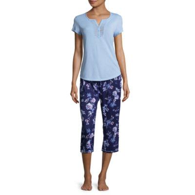 Adonna Lace Trim Capri Pajama Set