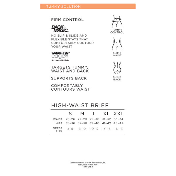 Ambrielle Back Magic® Wonderful Edge® High-Waist Firm Control Control Briefs - 129-3013