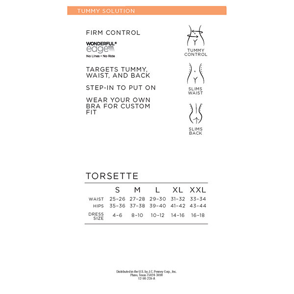 Ambrielle Wonderful Edge® Wear Your Own Bra Torsette Firm Control Shapewear Camisole-129-3018