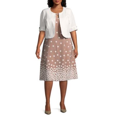 Maya Brooke 3/4 Split Sleeve Jacket Dress - Plus