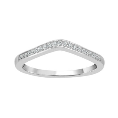 Womens 2mm Diamond Accent Genuine White Diamond 10K Gold Round Wedding Band