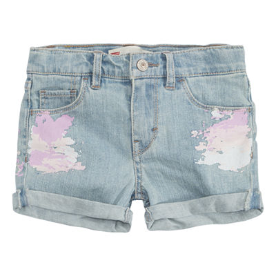 Levi's Denim At Waist Shortie Shorts - Preschool Girls
