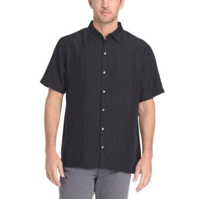 Van Heusen Mens Short Sleeve Striped Button-Front Shirt