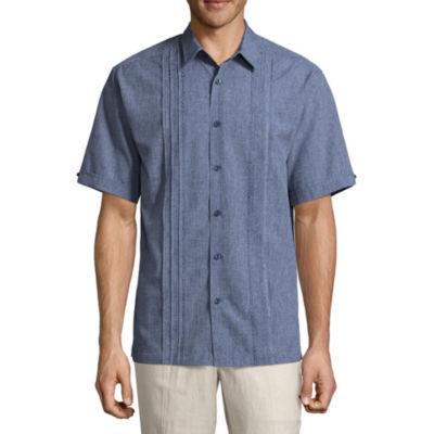 Havanera Chambray Wovens Short Sleeve Panel Button-Front Shirt-Big and Tall