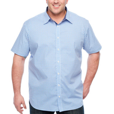Society Of Threads Short Sleeve Button-Front Shirt-Big and Tall
