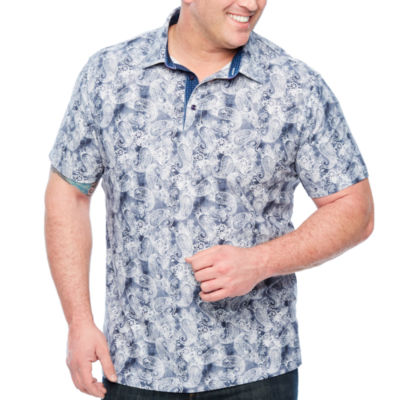 Society Of Threads Short Sleeve Paisley Pique Polo Shirt Big and Tall