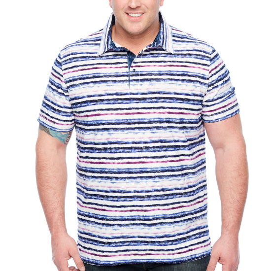 Society Of Threads Short Sleeve Stripe Pique Polo Shirt Big and Tall