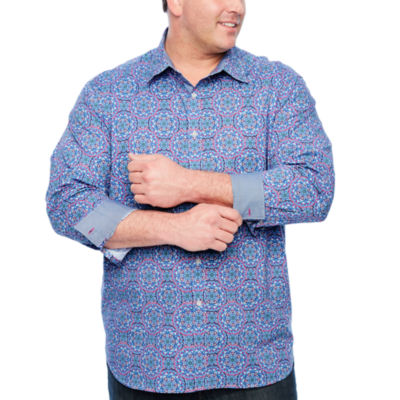 Society Of Threads Long Sleeve Geometric Button-Front Shirt-Big and Tall