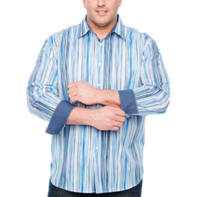 Society Of Threads Long Sleeve Stripe Button-Front Shirt-Big and Tall