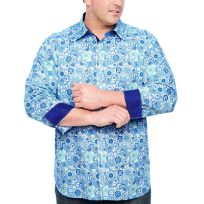 Society Of Threads Long Sleeve Paisley Button-Front Shirt-Big and Tall