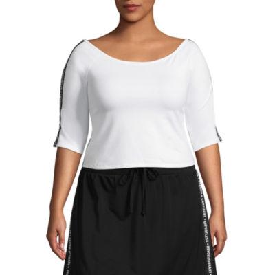 City Streets Short Sleeve Round Neck T-Shirt-Womens Juniors Plus