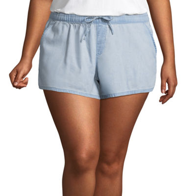 Arizona Chambray Soft Shorts-Juniors Plus