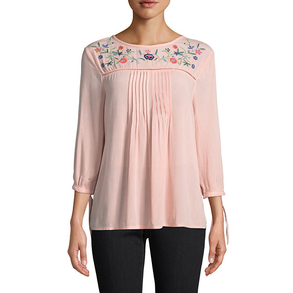 St. John's Bay Embroidered 3/4 Sleeve Fitted Sleeve Peasant Top