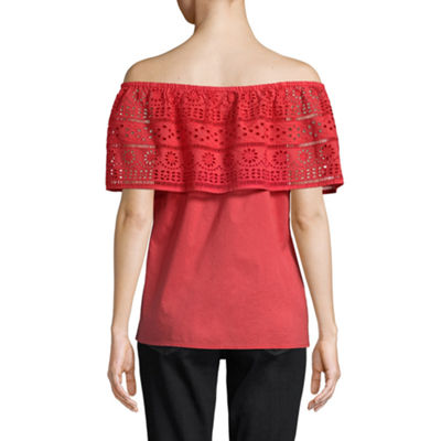 St. John's Bay Off Shoulder Straight Neck Woven Lace Blouse