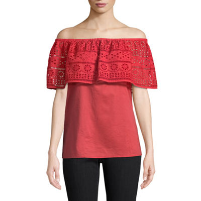 St. John's Bay Short Sleeve Straight Neck Woven Lace Blouse