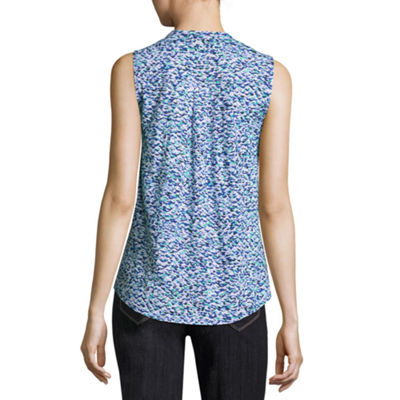 Liz Claiborne Split Neck Printed Tank Top