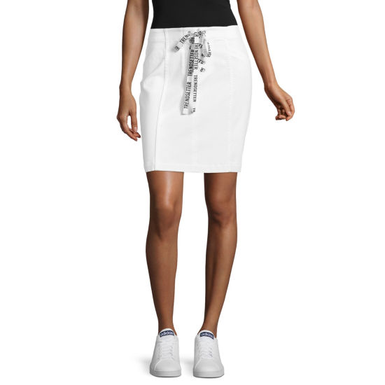 Project Runway Denim Skirt with Lace Up Tape