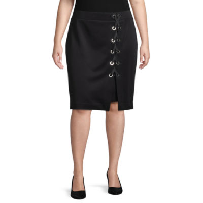 Bold Elements Lace Up Pencil Skirt - Plus