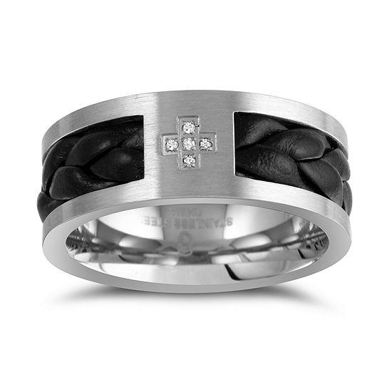 8MM Diamond Accent Genuine White Diamond Stainless Steel Wedding Band