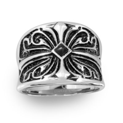 Mens Diamond Accent Black Stainless Steel Fashion Ring