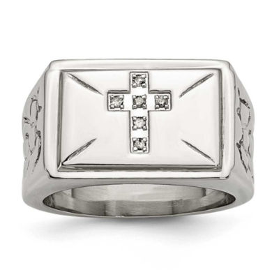 Mens Diamond Accent White Stainless Steel
