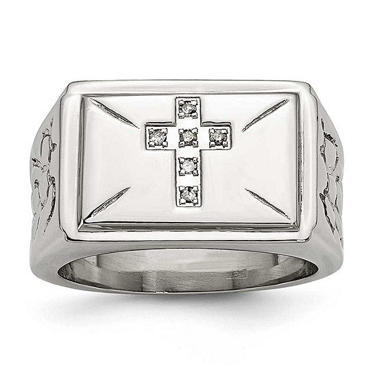 Mens Diamond Accent White Stainless Steel Fashion Ring