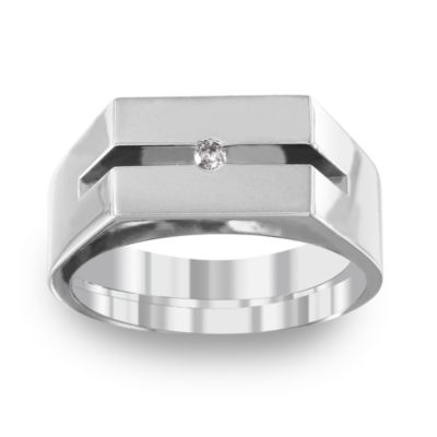 Mens Diamond Accent White Titanium Fashion Ring